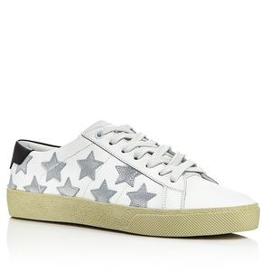 Saint Laurent court classic metallic star sneakers